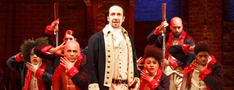 HAMILTON - Public Theater/Newman Theater - 2015 PRESS ART - Lin-Manuel Miranda and the company - Photo credit: Joan Marcus